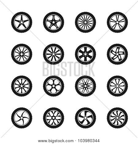 Vector car wheel icons