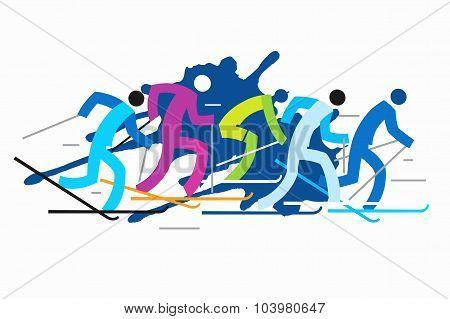 Cross Country Skiers Grunge