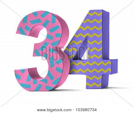 Colorful Paper Mache Number On A White Background  - Number 34