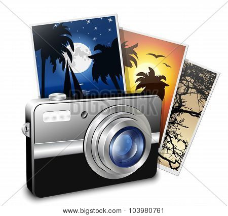 Compact Photo Camera And Photos. Vector Illustration