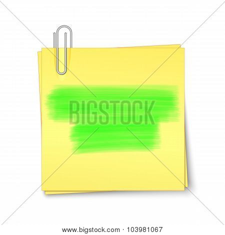 Vector Yellow Sticky Paper With Paper Clip