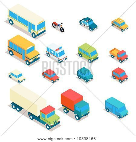 Isometric city transport and trucks vector icons. Cars, minibus, bus, jeep, police car, taxi, ambula