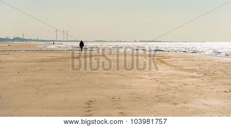 Strolling on a beach in autumn