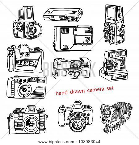 Illustration Vector Hand Drawn Doodles Of Many Kinds Of Photo Camera.
