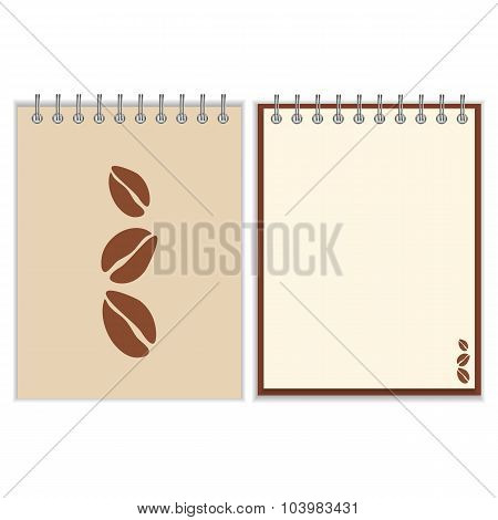 Notebook cover design with coffee beans