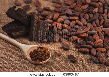 Raw Cocoa Beans, Chocolate, Powder