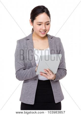 Businesswoman use of the tablet pc