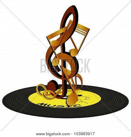 Notes on the treble clef, standing on a vinyl record