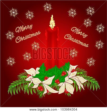 Merry Christmas Red Candle Vector
