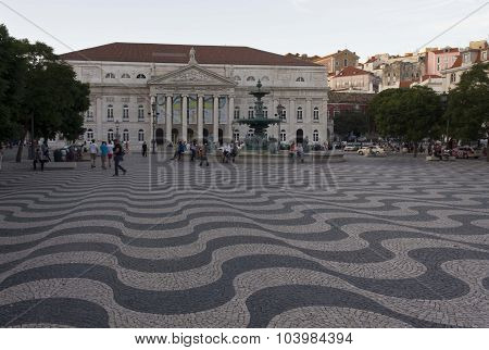 Rossio Square In Lisbon With Its Wave Floor