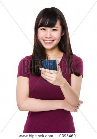 Asian Woman using mobile phone text message