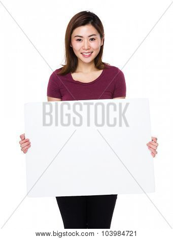 Asian woman showing with white banner