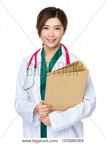 Doctor woman hold with folder