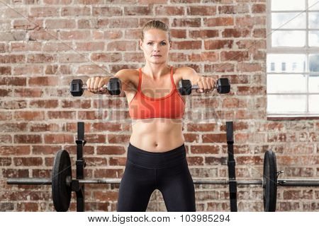 Fit woman exercising with dumbbell in the gym