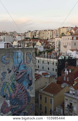 View From The Top Of Downtown Lisbon At Sunset Time