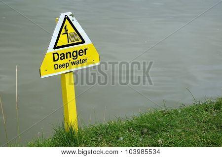 Danger, deep water sign.