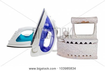 Two Modern Electric Steam Iron And Charcoal Iron