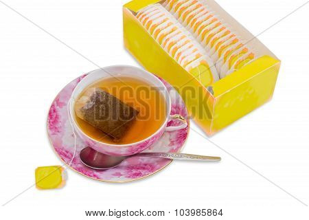 Cup Of Tea, Spoon, Saucer, Box Of Tea Bags