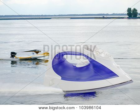 Steam iron against the background of the racing on water