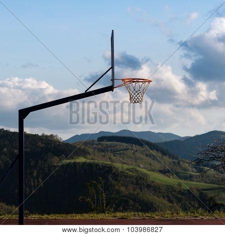 Outdoor Basketball Hoop In Court