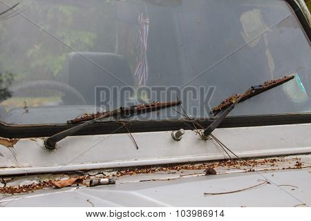 Car Windshield With Windshield Wipers