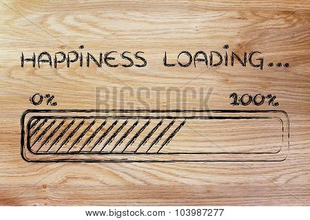 Happiness Loading, Progess Bar Illustration