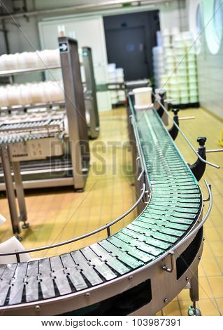 Conveyor In A Cheese Factory