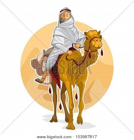 Arabian Bedouin Riding A Camel, Performing Islamic Al Hijra