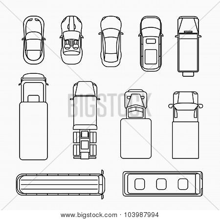 Cars thin line icons top view