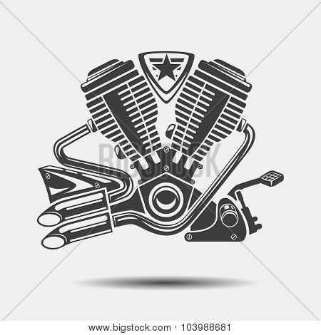Car engine or motorbike motor black icon