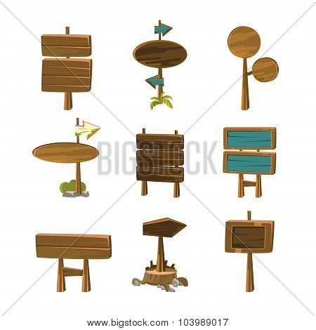 Cartoon Wood Signs and Banners Vector Illustrations