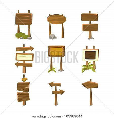 Cartoon Wood Banners Vector Illustrations