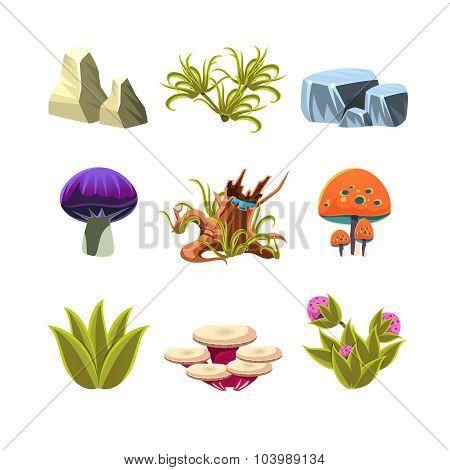 Cartoon Mushrooms, Stones, and Bushes Set Vector Illustration