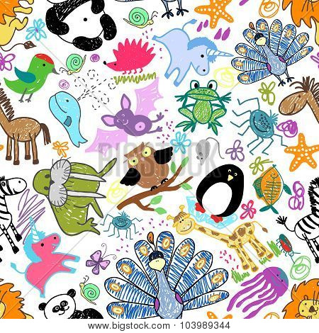 Childrens drawings seamless pattern with animals