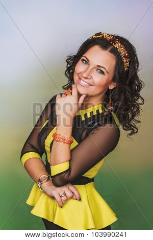 Attractive Woman With Coronet Of Beads