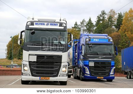 Two Volvo FH Tank Trucks Leaving Truck Stop