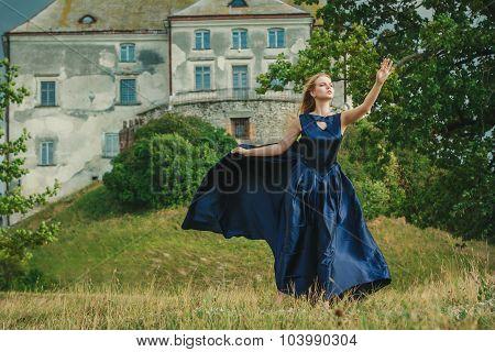 Beautiful Young Woman In Blue Dress