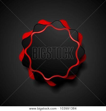 Abstract dark red wavy shape sticker design. Vector background