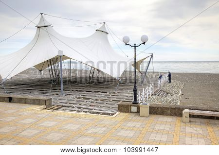 Adler. Construction Of Summer Cafe On The Shore Of The Black Sea
