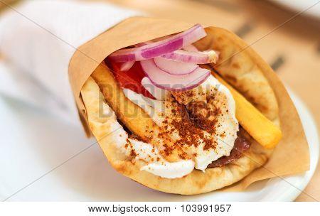 Close-up Of Greek Pita Gyros.