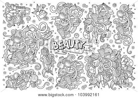 Vector hand drawn doodle cartoon set of objects