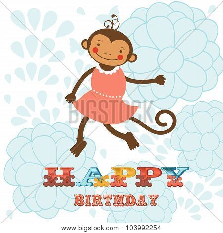 Stylish Happy birthday card with cute monkey playing and having fun.