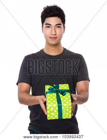 Asian man hold with gift box
