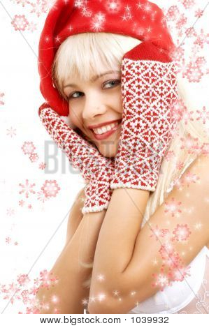 Santa Helper Girl With Snowflakes