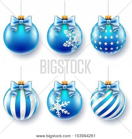 Blue Christmas Balls on gift bows isolated on white. Illustration Vector EPS10.