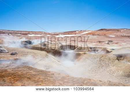 Steaming Hot Water Ponds On The Andes, Bolivia