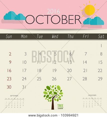 2016 calendar, monthly calendar template for October. Vector illustration.