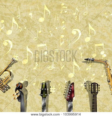 musical background with frame of instruments and texture