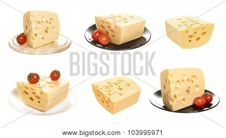 Cheese isolated on a white background. Emmentaller set on a white background.