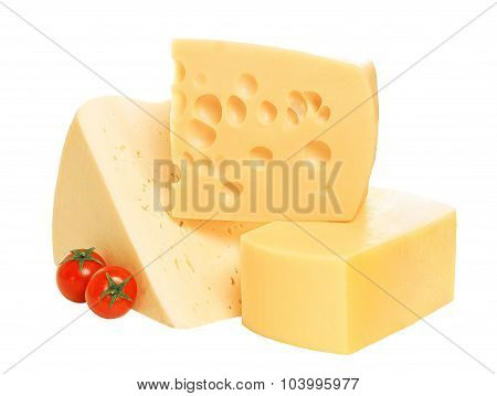 piece of cheese isolated on white background.